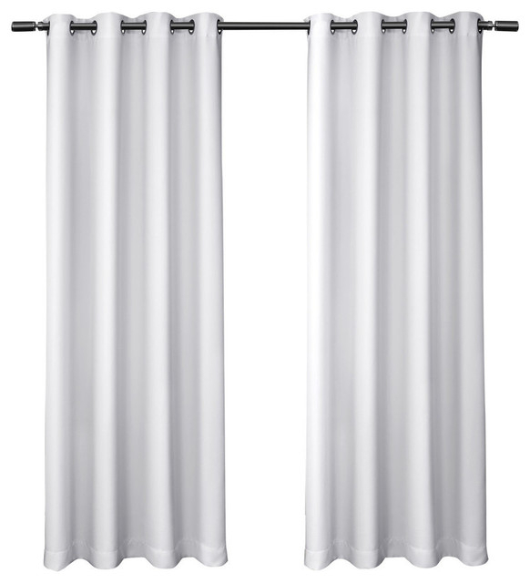 """Sateen Blackout Kids Grommet Top Window Curtain Panel Pair, White, 52"""" X63"""" Pertaining To Sateen Twill Weave Insulated Blackout Window Curtain Panel Pairs (View 4 of 25)"""