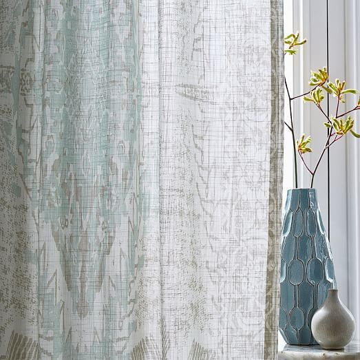 Sheer Cotton Distressed Medallion Curtains (Set Of 2) – Pale Inside Vue Elements Priya Tab Top Window Curtains (Image 21 of 25)