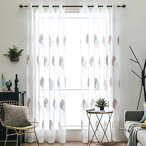 Sheer Curtains With Leaves – Shockanalyticsllc Regarding Wavy Leaves Embroidered Sheer Extra Wide Grommet Curtain Panels (View 22 of 25)