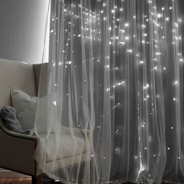 Shop Aurora Home Star Punch Tulle Overlay Blackout Curtain Pertaining To Star Punch Tulle Overlay Blackout Curtain Panel Pairs (View 3 of 25)