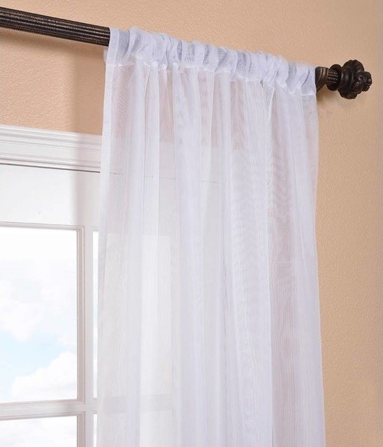 Shoptagr | Signature White Sheer Curtain Single Panel, 50 Inside Double Layer Sheer White Single Curtain Panels (Image 21 of 25)
