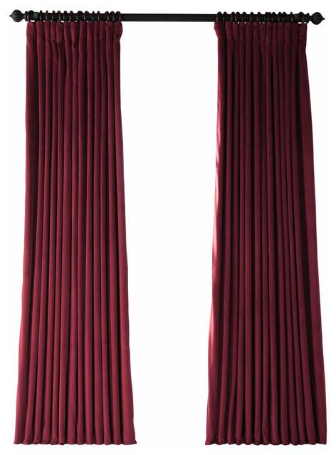 """Signature Burgundy Blackout Velvet Curtain Single Panel, 100""""x108"""" Intended For Heritage Plush Velvet Single Curtain Panels (Image 22 of 25)"""