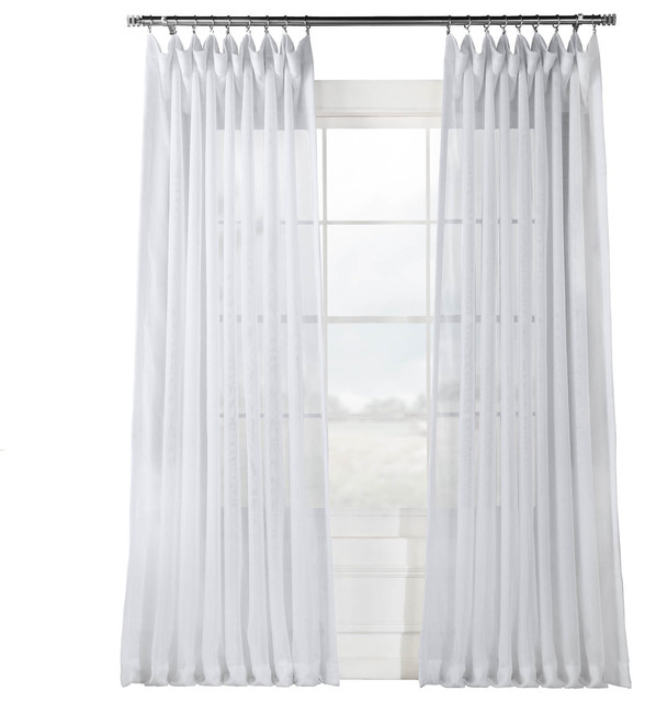 """Signature Double Wide White Sheer Curtain Single Panel, 100""""x108"""" Regarding Linen Button Window Curtains Single Panel (View 11 of 25)"""