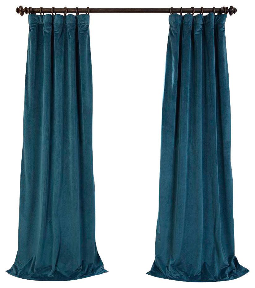 "Signature Everglade Teal Blackout Velvet Curtain Single Panel, 50""x120"" Regarding Velvet Dream Silver Curtain Panel Pairs (Image 21 of 25)"