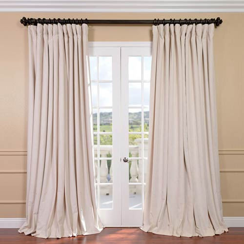 Signature Ivory Double Wide Velvet Blackout Pole Pocket Single Panel Curtain, 100 X 96 Regarding Warm Black Velvet Single Blackout Curtain Panels (View 6 of 25)