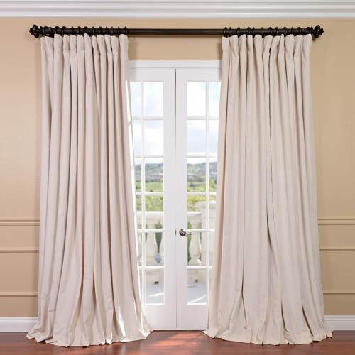 Signature Ivory Double Wide Velvet Blackout Pole Pocket Single Panel  Curtain, 100 X 96 Regarding Warm Black Velvet Single Blackout Curtain Panels (Image 14 of 25)