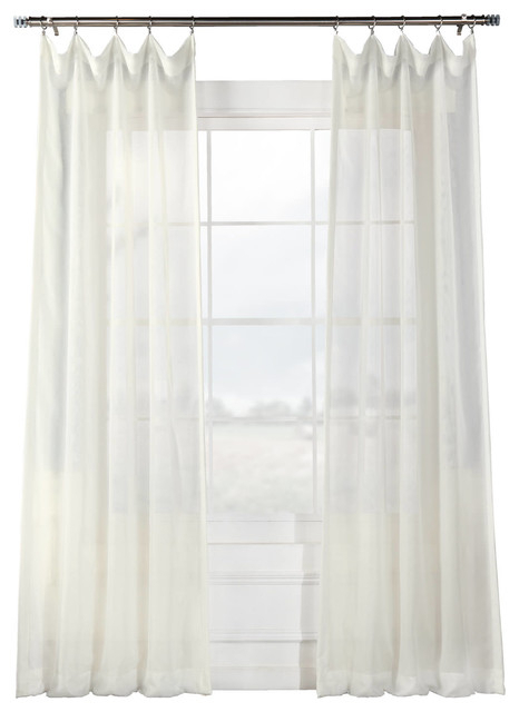 """Signature Off White Sheer Curtain Single Panel, 50""""x108"""" Pertaining To Double Layer Sheer White Single Curtain Panels (Image 23 of 25)"""