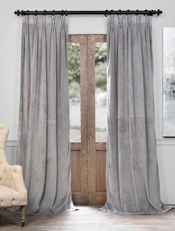 Signature Silver Grey Pleated Blackout Velvet Curtain In Velvet Dream Silver Curtain Panel Pairs (Image 22 of 25)