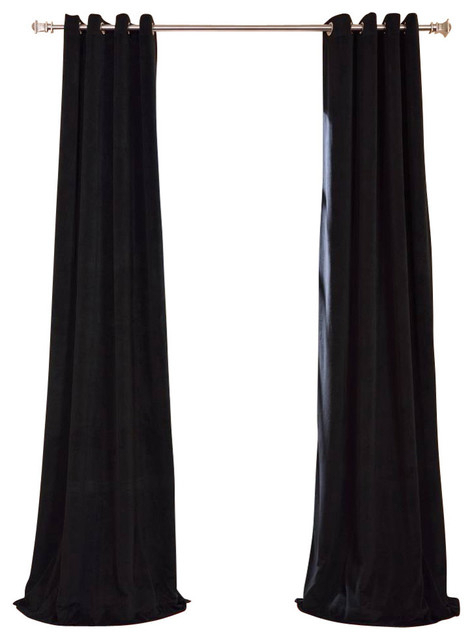 "Signature Warm Black Grommet Blackout Velvet Curtain Single Panel, 50""x120"" With Warm Black Velvet Single Blackout Curtain Panels (Image 16 of 25)"