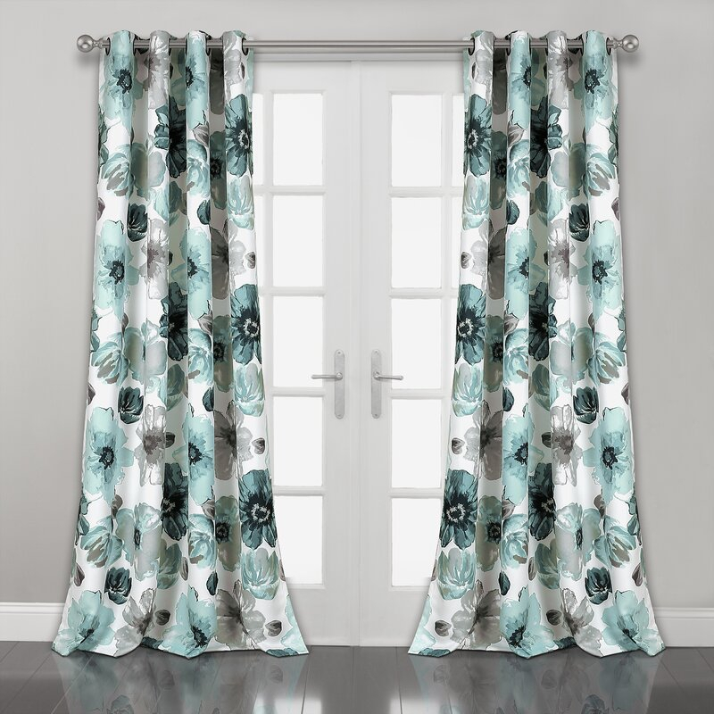 Sikora Naturefloral Room Darkening Thermal Grommet Curtain Panels For Dolores Room Darkening Floral Curtain Panel Pairs (Image 21 of 25)