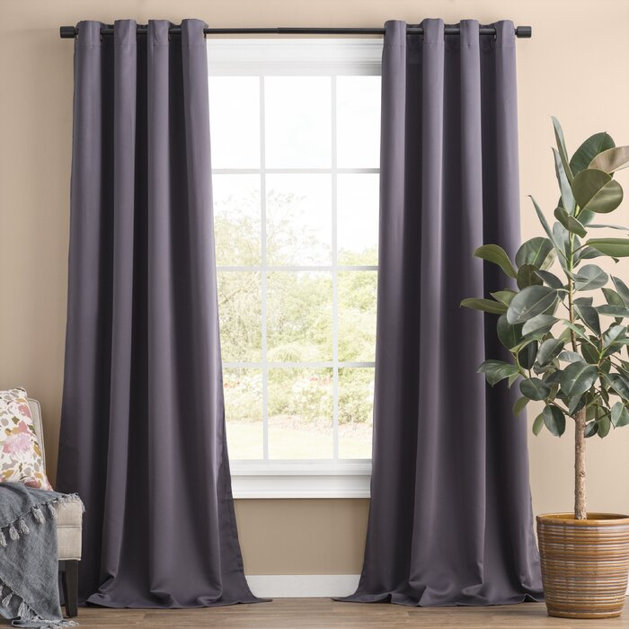 Solid Blackout Thermal Grommet Curtain Panels Pertaining To Warm Black Velvet Single Blackout Curtain Panels (Image 17 of 25)