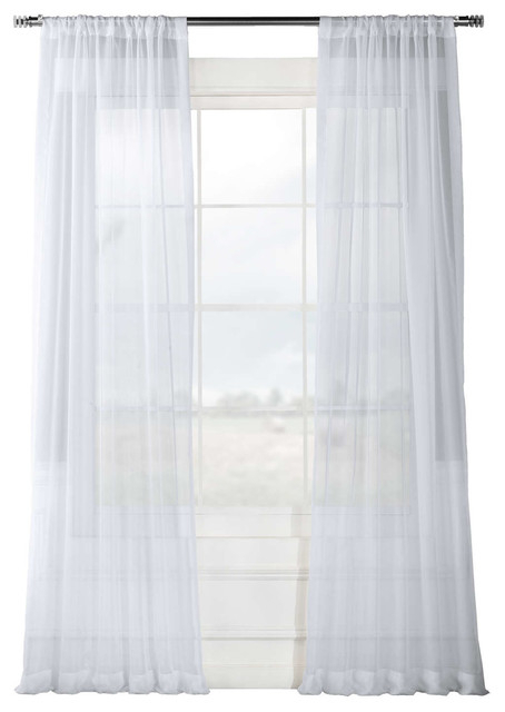 """Solid White Voile Poly Curtains, Set Of 2, 50""""x108"""" Regarding Vertical Colorblock Panama Curtains (Image 22 of 25)"""