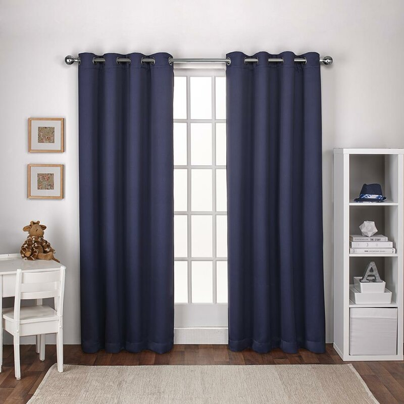 Stanton Solid Blackout Thermal Grommet Curtain Panels In Davis Patio Grommet Top Single Curtain Panels (Image 19 of 25)