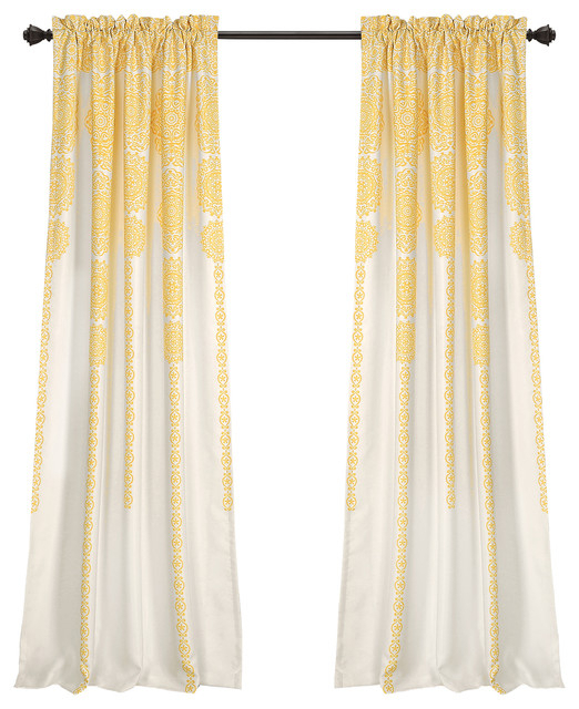 "Stripe Medallion Room Darkening Window Curtain Panels Yellow 52""x84""+2 Set With Julia Striped Room Darkening Window Curtain Panel Pairs (Image 23 of 25)"