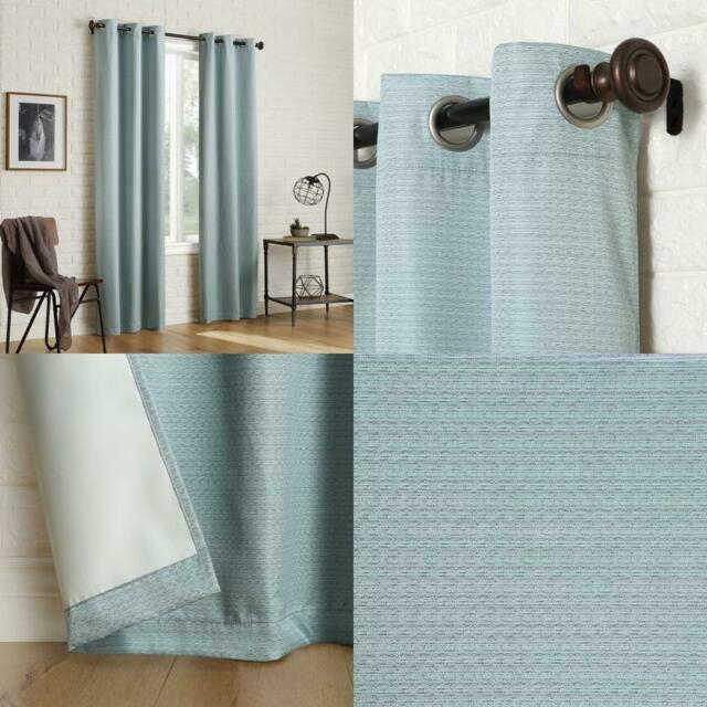 Sun Zero 2 Pack Arlo Textured Thermal Insulated Blackout Grommet Curtain  Panel P Throughout Duran Thermal Insulated Blackout Grommet Curtain Panels (Image 19 of 25)
