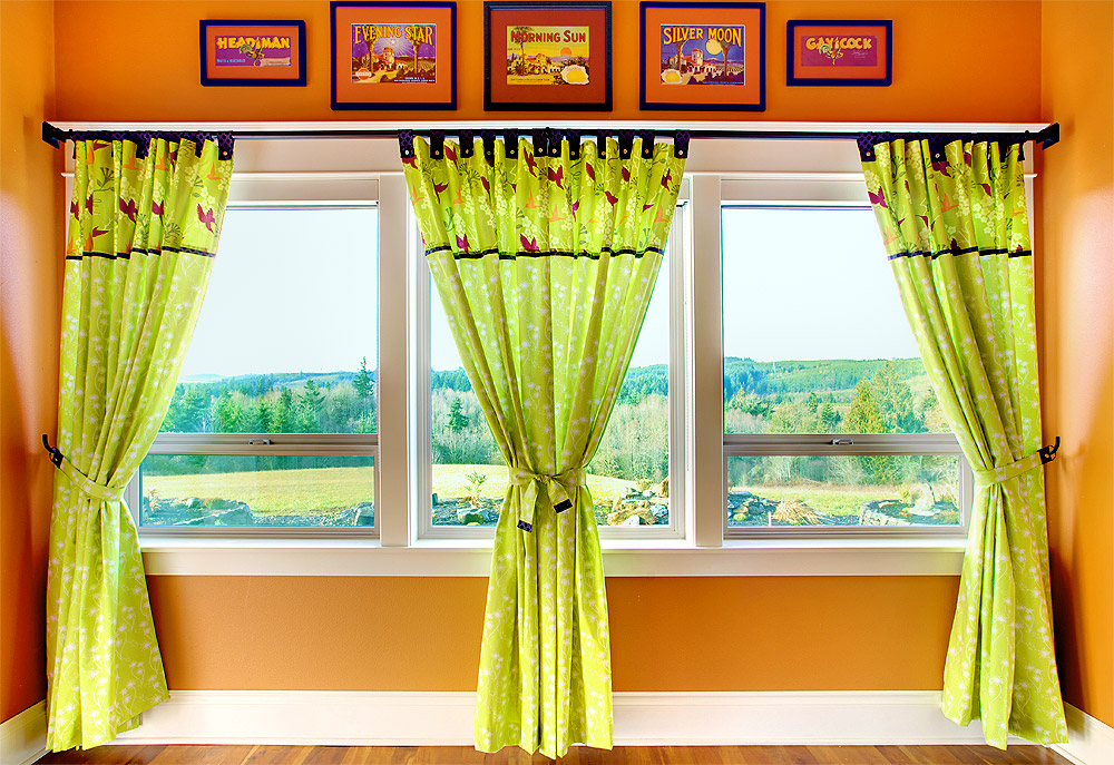 Tab Top Panel Curtains With Button Accents | Sew4Home Inside Linen Button Window Curtains Single Panel (View 13 of 25)