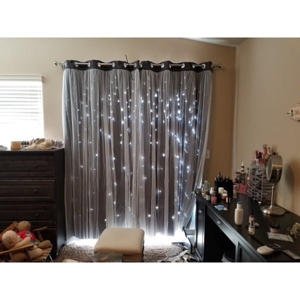 Top Product Reviews For Aurora Home Star Punch Tulle Overlay In Star Punch Tulle Overlay Blackout Curtain Panel Pairs (View 11 of 25)