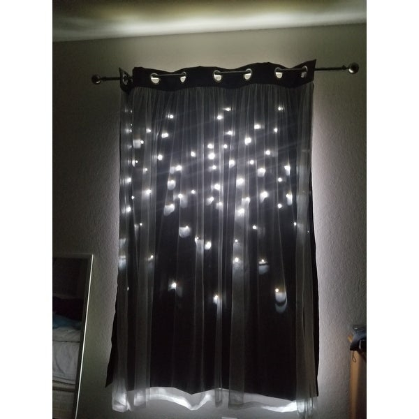 Top Product Reviews For Aurora Home Star Punch Tulle Overlay Throughout Star Punch Tulle Overlay Blackout Curtain Panel Pairs (View 17 of 25)