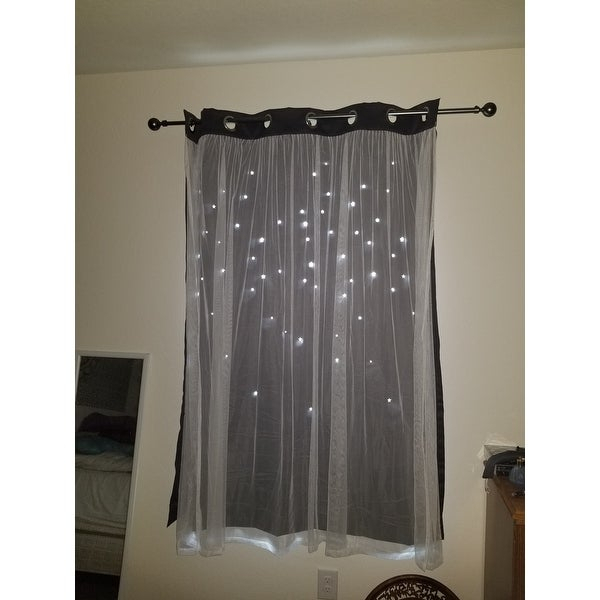 Top Product Reviews For Aurora Home Star Punch Tulle Overlay Within Star Punch Tulle Overlay Blackout Curtain Panel Pairs (View 4 of 25)