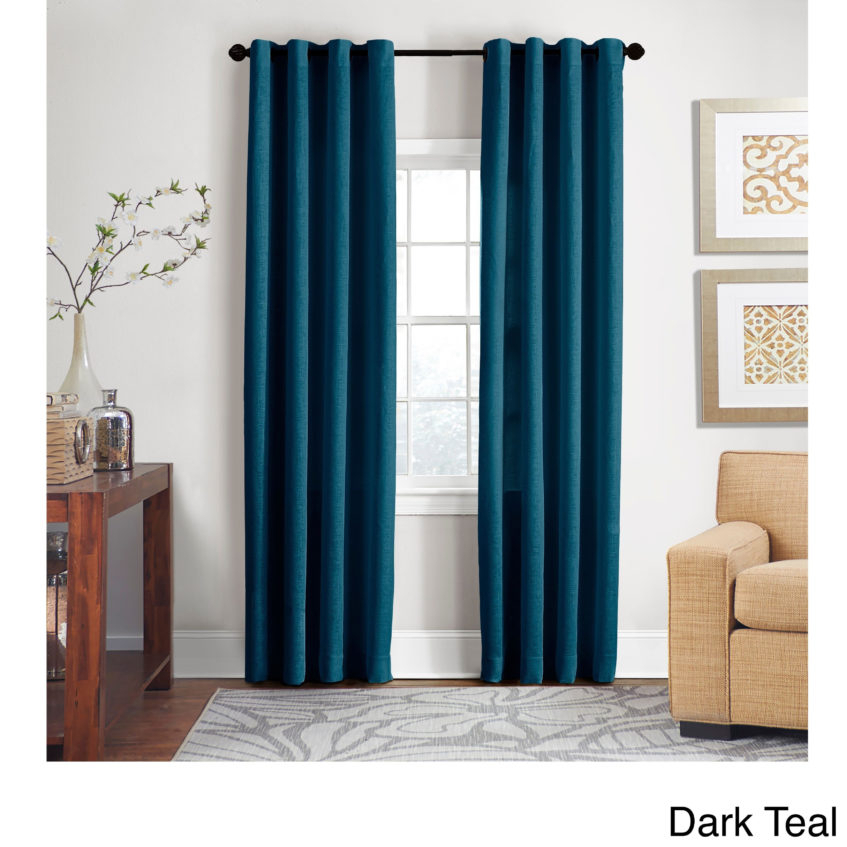 Turquoise Window Panel Grand Luxe Percent Linen Gotham Pertaining To Wavy Leaves Embroidered Sheer Extra Wide Grommet Curtain Panels (View 16 of 25)