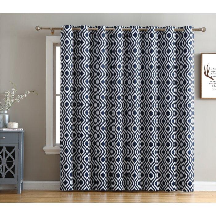 Valarie Geometric Blackout Thermal Grommet Single Curtain Panel Regarding Geometric Print Textured Thermal Insulated Grommet Curtain Panels (Photo 7 of 25)