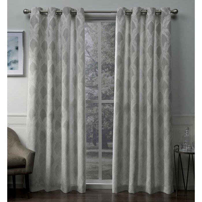 Vallejo Textured Linen Jacquard Geometric Grommet Curtain Panels Inside Geometric Print Textured Thermal Insulated Grommet Curtain Panels (Photo 14 of 25)