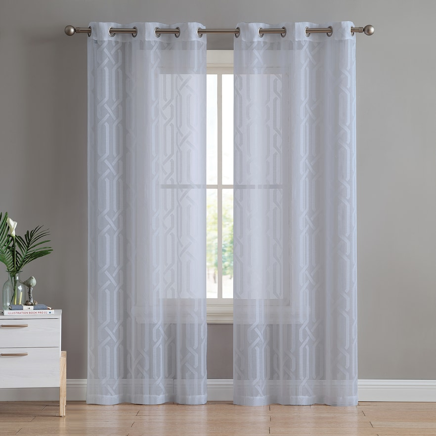 Vcny 2 Pack Irongate Sheer Window Curtains, | Products In Intended For Sunsmart Abel Ogee Knitted Jacquard Total Blackout Curtain Panels (Photo 16 of 21)