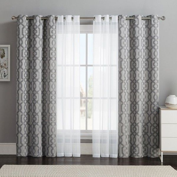 Vcny 4 Pack Barcelona Double Layer Curtain Set, Gray ($32 For Double Layer Sheer White Single Curtain Panels (Image 25 of 25)