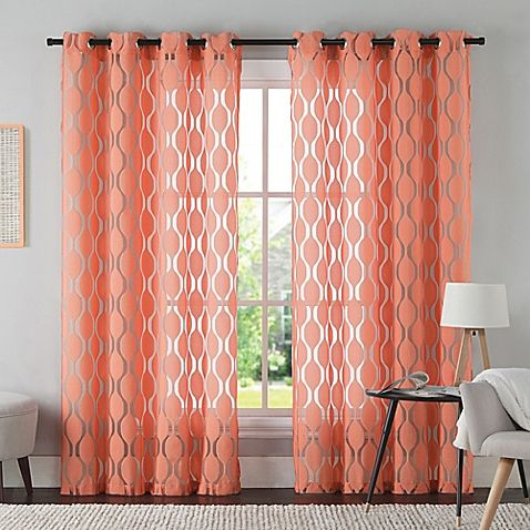 Vcny Aria 95 Inch Window Curtain Panel In Coral | Style With Regard To The Curated Nomad Duane Blackout Curtain Panel Pairs (Photo 10 of 25)