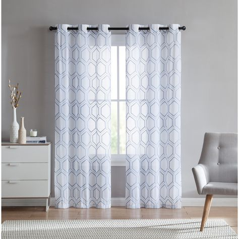 Vcny Home Empire Embroidered Sheer Grommet Top Curtain Panel With Laya Fretwork Burnout Sheer Curtain Panels (Photo 19 of 25)