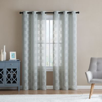 """Vcny Home Jolie Embroidery Sheer 84"""" Grommet Top Window Intended For Ocean Striped Window Curtain Panel Pairs With Grommet Top (Photo 1 of 25)"""