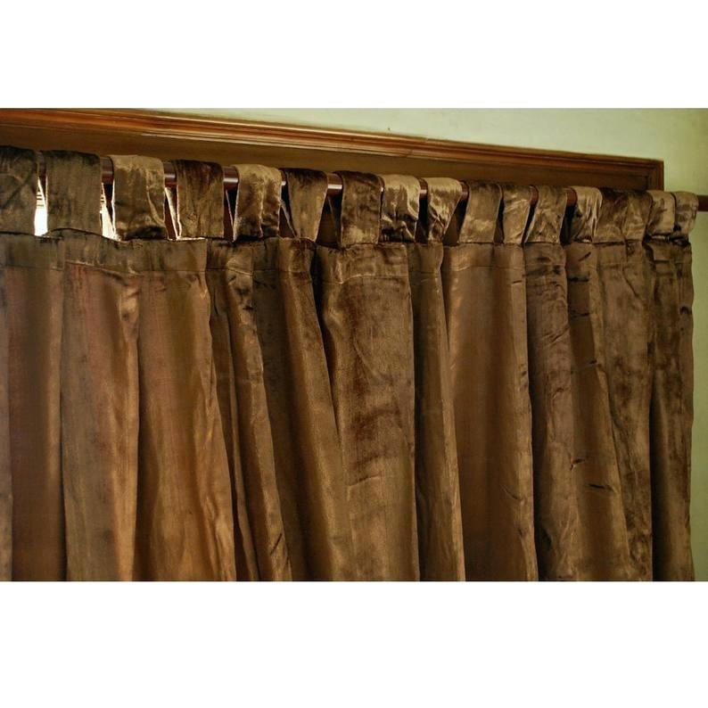 Velvet Curtain Panels Solid Matt Panel Drapes Back Tab Rod With Regard To Knotted Tab Top Window Curtain Panel Pairs (Photo 17 of 25)