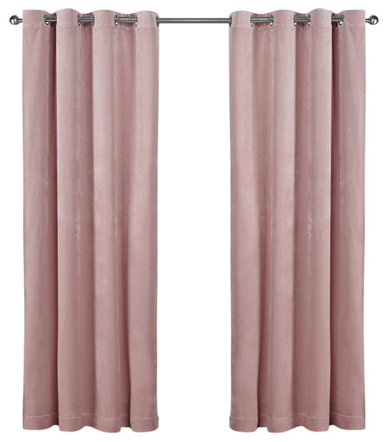 "Velvet Grommet Top Curtains, Set Of 2, Blush Pink, 54""x108"" With Velvet Heavyweight Grommet Top Curtain Panel Pairs (Photo 8 of 25)"