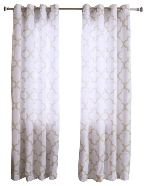 "Velvet Reverse Moroccan Print Curtains, Pair, Beige, 84"" In Edward Moroccan Pattern Room Darkening Curtain Panel Pairs (Photo 10 of 25)"