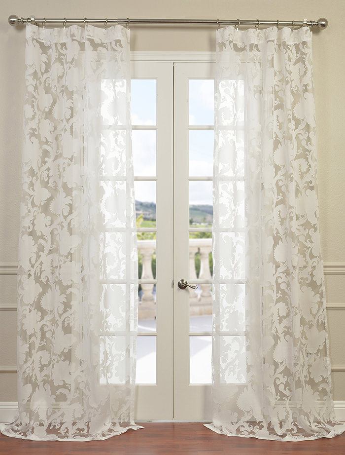 Venus White Designer Sheer Curtain | All Curtains And Drapes For Off White Vintage Faux Textured Silk Curtains (Photo 15 of 25)