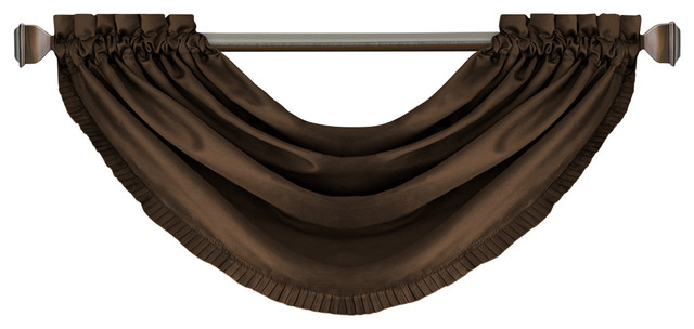 """Versailles Waterfall Window Valance, Chocolate, 52""""x36"""" Pertaining To Elrene Versailles Pleated Blackout Curtain Panels (Photo 25 of 25)"""