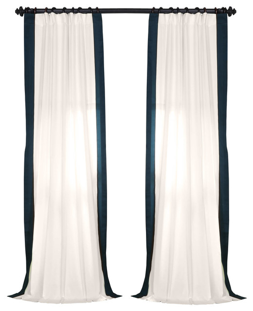 """Vertical Colorblock Panama Single Panel Curtain, Polo Navy, 50""""x96"""" With Regard To Vertical Colorblock Panama Curtains (Photo 1 of 25)"""