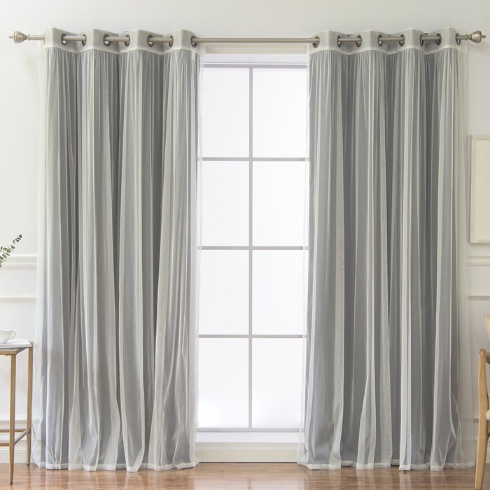 Vestal Tulle And Heathered Room Mix And Match Solid Blackout Thermal  Grommet Curtain Panels Inside Tulle Sheer With Attached Valance And Blackout 4 Piece Curtain Panel Pairs (Photo 18 of 25)