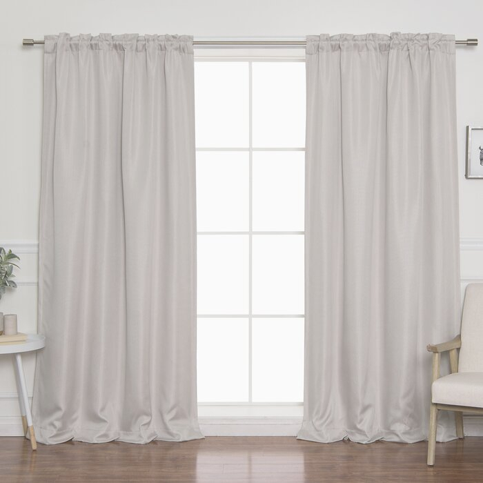 Vicenta Basketweave Faux Linen Solid Blackout Back Tab Top Curtain Panels Throughout Faux Linen Blackout Curtains (Photo 3 of 25)