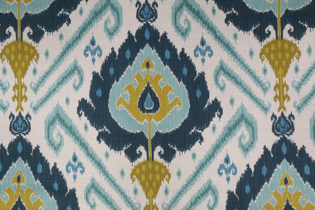Vilber Ikat Spanish Printed Cotton Drapery Fabric In Blue Green $11.95 Per  Yard Within Ikat Blue Printed Cotton Curtain Panels (Photo 12 of 25)