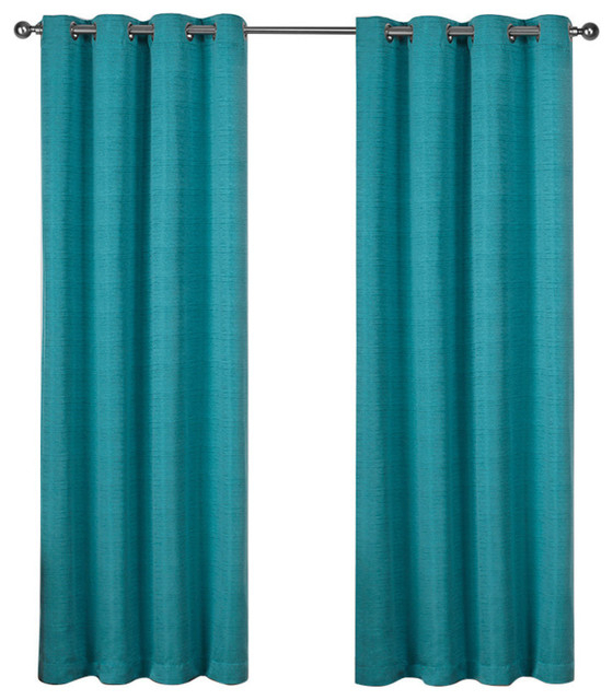 "Virenze Faux Silk Grommet Top Window Curtain Panels, 54"" X 96"", Set Of 2,  Teal Intended For Vertical Colorblock Panama Curtains (Photo 25 of 25)"