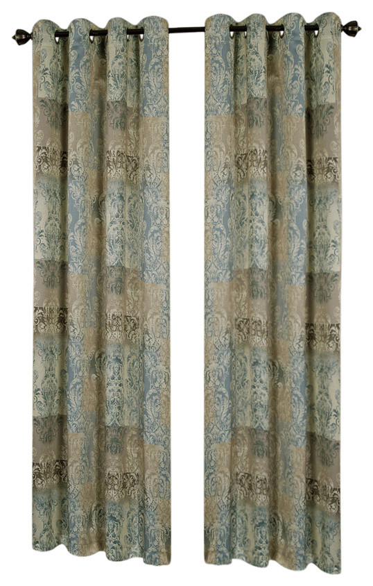 """Vogue Grommet Window Curtain Panel, 50""""x63"""", Blue In Caldwell Curtain Panel Pairs (Photo 13 of 25)"""