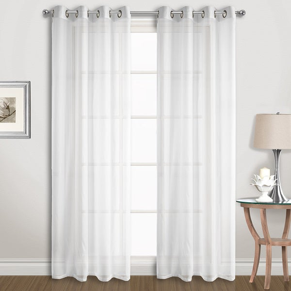 Voile Curtains | Flisol Home Pertaining To Pairs To Go Victoria Voile Curtain Panel Pairs (Photo 23 of 25)