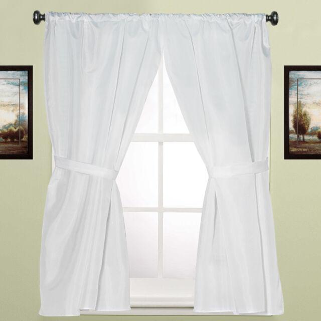 "Water Resistant White Fabric Bathroom Window Curtain Pair W/ Tiebacks 36"" X 54"" Pertaining To Classic Hotel Quality Water Resistant Fabric Curtains Set With Tiebacks (View 3 of 25)"
