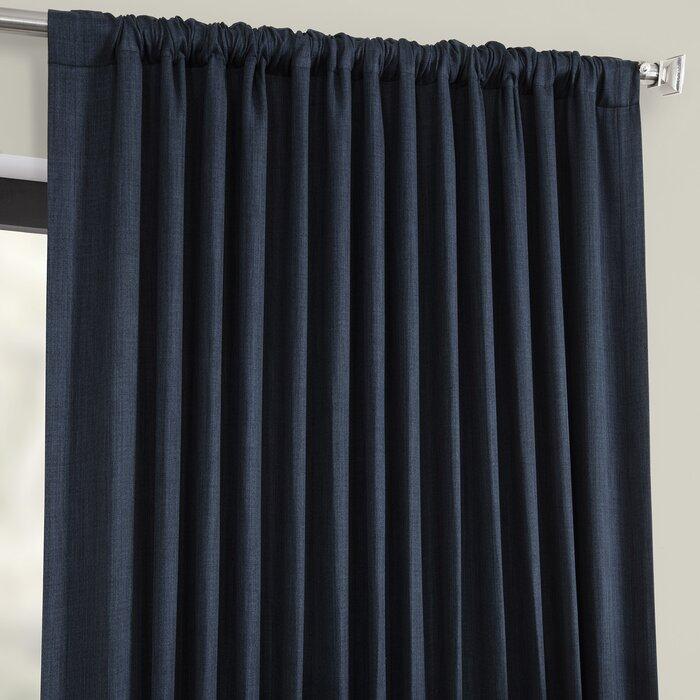 Waubun Faux Linen Extra Wide Solid Color Blackout Rod Pocket Single Curtain Panel In Faux Linen Extra Wide Blackout Curtains (View 3 of 25)