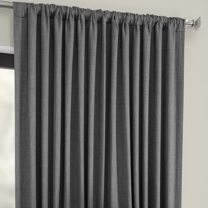 Waubun Faux Linen Extra Wide Solid Color Blackout Rod Pocket Single Curtain Panel With Faux Linen Extra Wide Blackout Curtains (View 2 of 25)