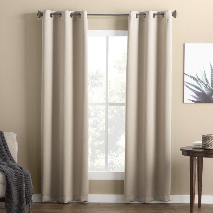 Wayfair Basics Solid Blackout Grommet Single Curtain Panel Throughout Warm Black Velvet Single Blackout Curtain Panels (Image 23 of 25)
