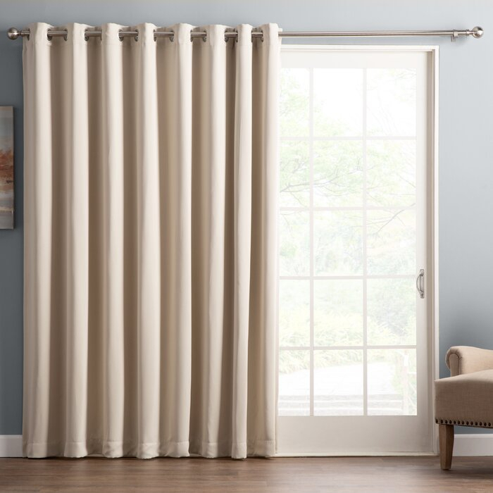 Wayfair Basics Solid Blackout Grommet Single Patio Curtain Panel Intended For Warm Black Velvet Single Blackout Curtain Panels (View 10 of 25)