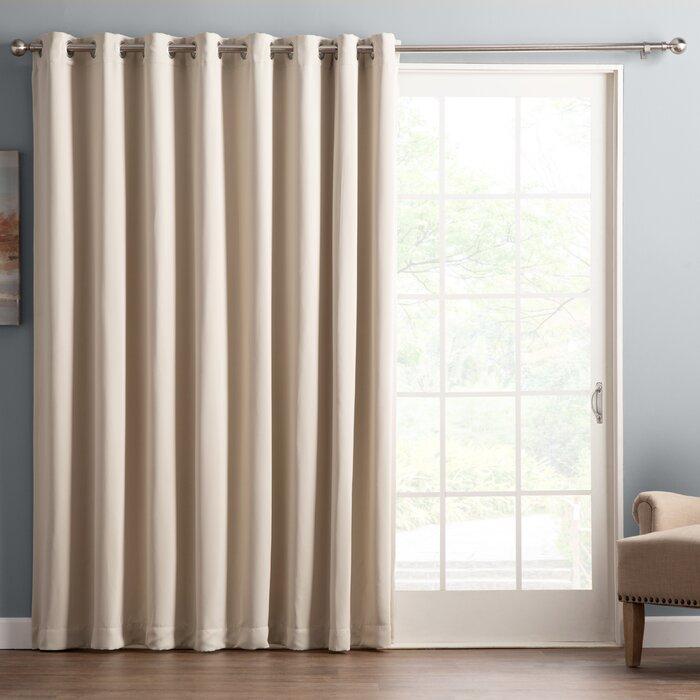 Wayfair Basics Solid Blackout Grommet Single Patio Curtain Panel Intended For Warm Black Velvet Single Blackout Curtain Panels (Image 24 of 25)