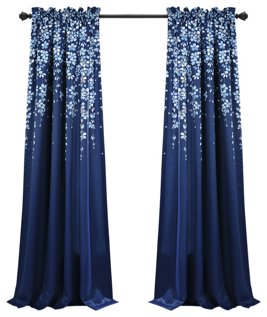 "Weeping Flower Room Darkening Curtain Panels Set, Navy, 95""x52"" + 2"" Header Throughout Weeping Flowers Room Darkening Curtain Panel Pairs (Image 21 of 25)"